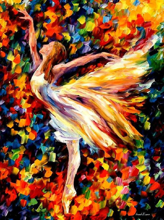 "Belleza de la danza: espátula impresionista figurativa pintura al óleo moderna en lona por Leonid Afremov - tamaño: 30 ""x 40"" (75 cm x 100 cm)"