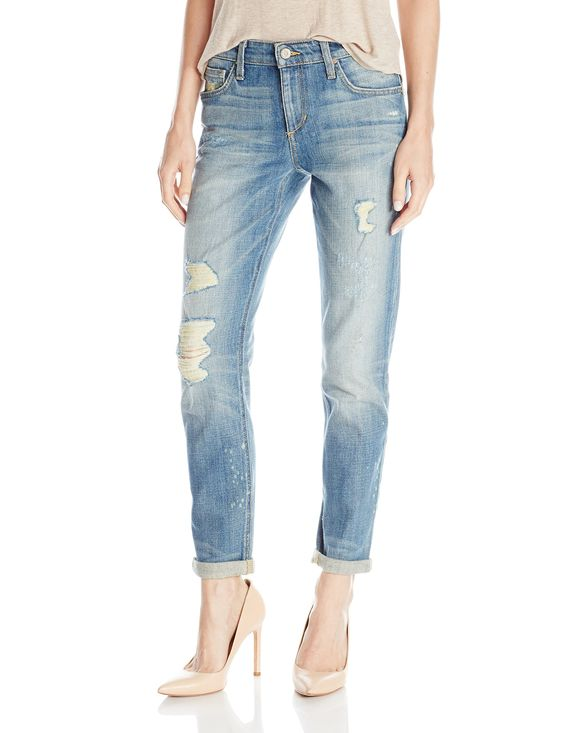 Joe's Jeans Women's Vintage Billie Ankle Jean in Emi, Emi, 24. Slim-fitting boyfriend jean with distressed legs and bleach splatter. Midrise. Whiskered front, honeycombs at back knees. Cropped.: