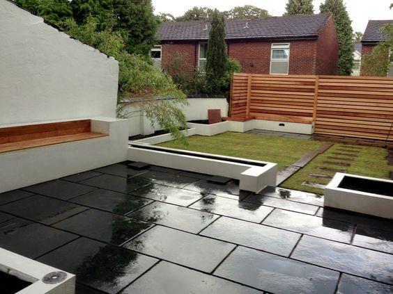 black limestone natural indian stone patio paving slabs | paving, Garten Ideen