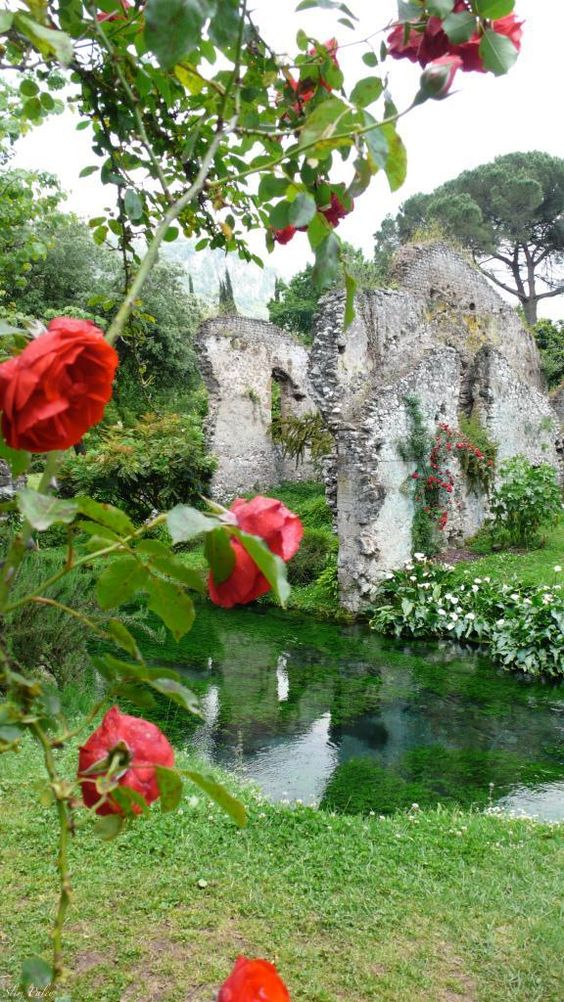 Set in a ruined medieval town, the romantic Ninfa Gardens are located in the Lazio region of Italy, 40 miles southeast of Rome.:
