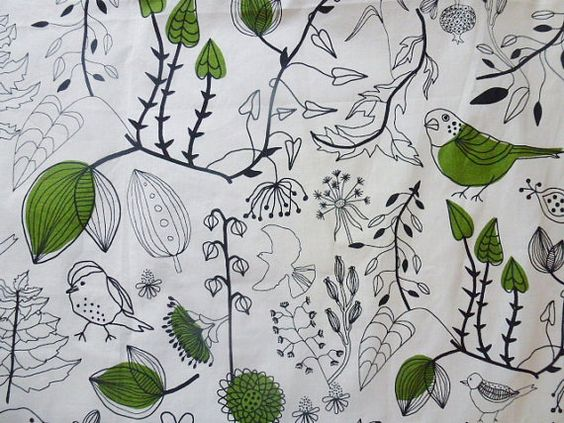 Swedish Ikea fabric / Bird and trees print | Trees, Bird prints ...