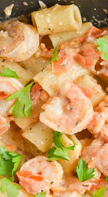 Shrimp Rigatoni with Tomato White Wine Sauce