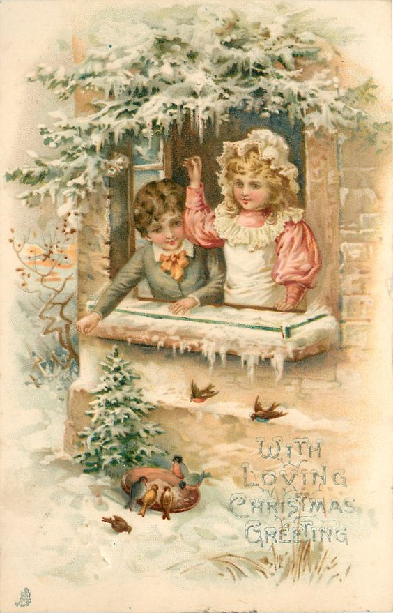 WITH LOVING CHRISTMAS GREETING girl and boy look at birds out window: