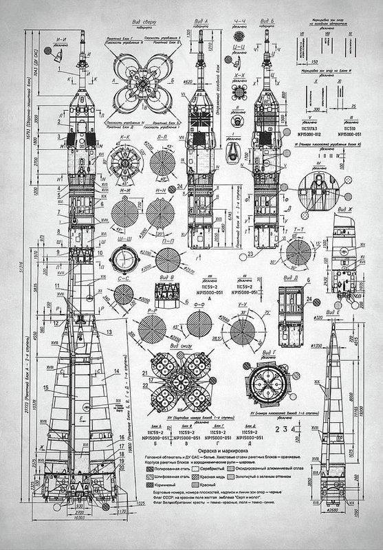 Soviet Rocket Schematics - Art Print in 2019 | Space crafts ... on