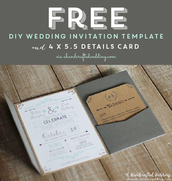 Diy Wedding Invitations Pinterest: FREE Printable Wedding Invitation Template Via
