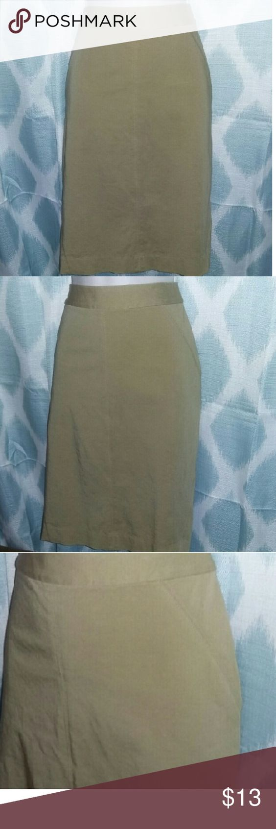 Ann Taylor brushed cotton khaki pencil skirt Straight cut skirt, below the knee length, back zip closure. Like new condition Ann Taylor Skirts Pencil