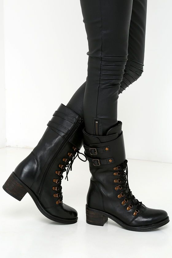 Report Signature Fenner Black Leather Mid-Calf Combat Boots ...