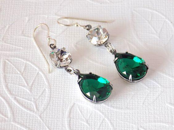 Emerald Green Earrings Swarovski Dangle Earrings Sterling Silver Earrings Edwardian Earrings Victorian Earrings Downton Abbey Jewelry by TreasuresofJewels on Etsy https://www.etsy.com/listing/265725193/emerald-green-earrings-swarovski-dangle