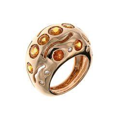 Orange Sapphire Diamond Gold Cocktail Ring
