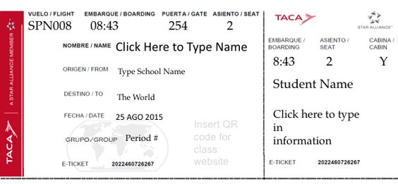 Student Boarding Pass Template Create an airline ticket for each - e ticket template