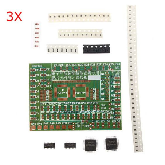 3pcs componentes smd electrónicos diy soldar kit de placa de la práctica para la formación