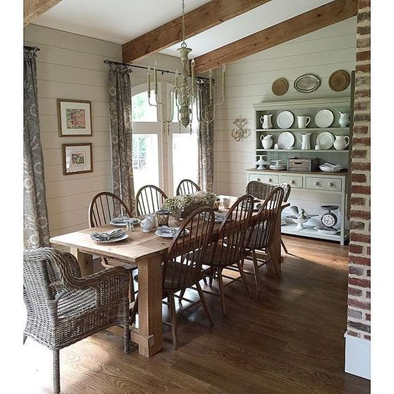 Farmhouse Dining Room Ideas: Farmhouse Dining Rooms, Exposed Beams And Beams On Pinterest