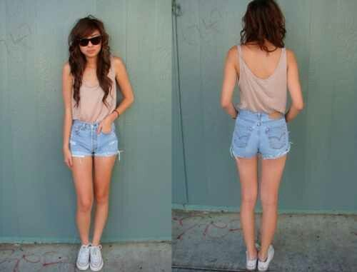 Loose Neutral Tank. Light Jean Cuff Shorts. Teen Fashion. By ...