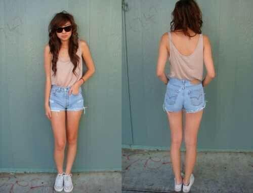 Loose Neutral Tank. Light Jean Cuff Shorts. Teen Fashion. By ...