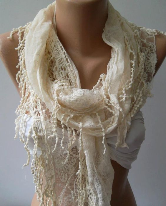 Ivory Beige  Elegance Shawl / Scarf with Lace Edge by womann, $19.90