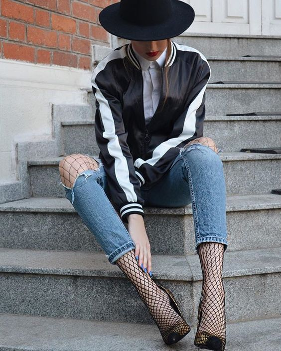 Fishnets are so cool – and when styled like this, they're avant-garde but not too edgy, which I love. x: