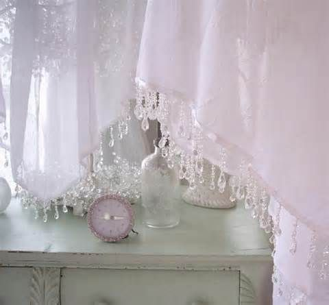 Simply Shabby Chic Smocked Curtain Drapes with beaded trim