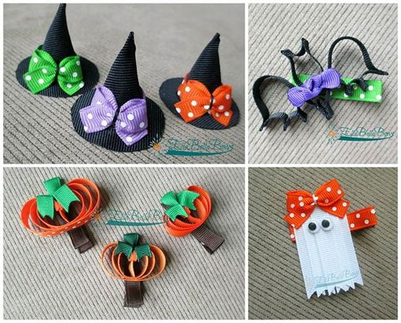 free halloween ribbon sculpture hair clip tutorial - Google Search