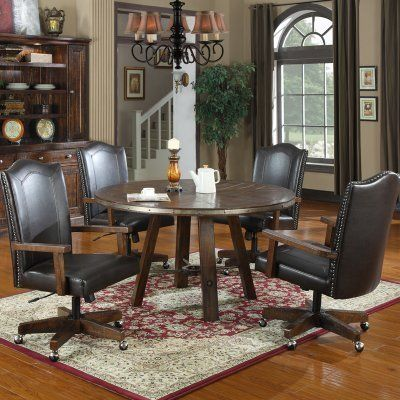 Emerald Home Castlegate 5 pc Round Dining Set with Caster Chairs