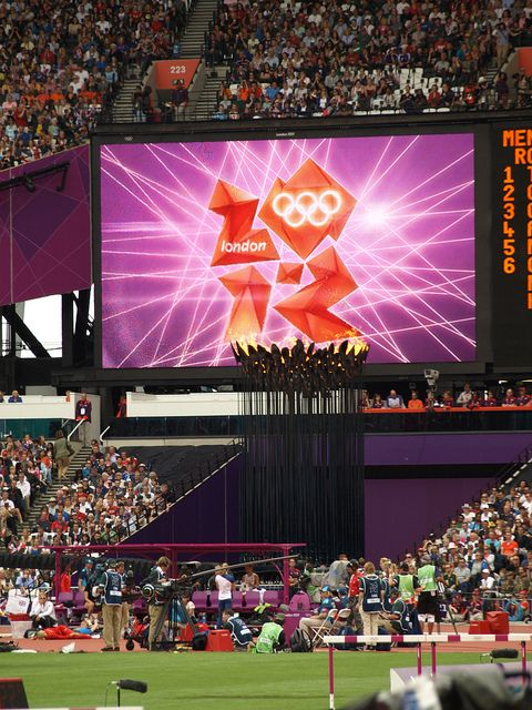 Big screen in Olympic stadium by Sweppy, via Flickr