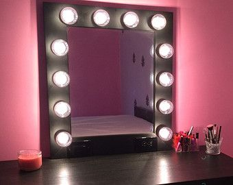 vanity makeup mirror with lights available built in digital led dimmer and power outlet just. Black Bedroom Furniture Sets. Home Design Ideas