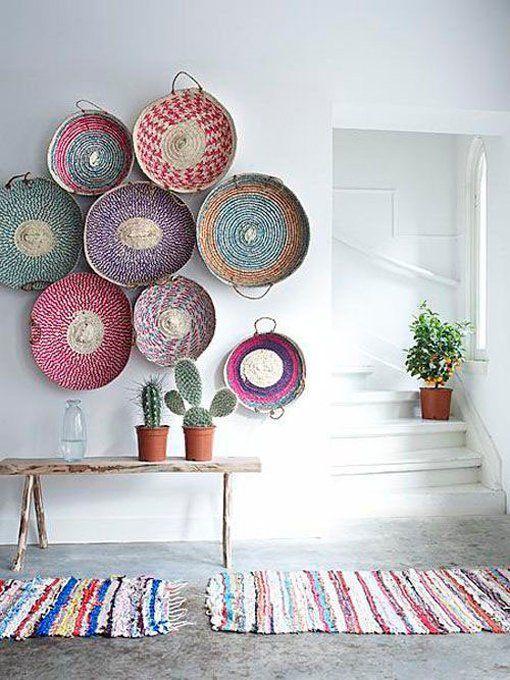 cestas de mimbre en la pared #rusticchic wall