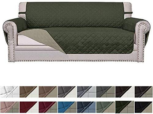 Easy Going Sofa Slipcover Reversible Sofa Cover Furniture Protector Couch Cover Elastic Straps Pets Kids Children Dog Cat Oversized Sofa Army Green Beige F Couch Covers Sofa Covers Slipcovered Sofa