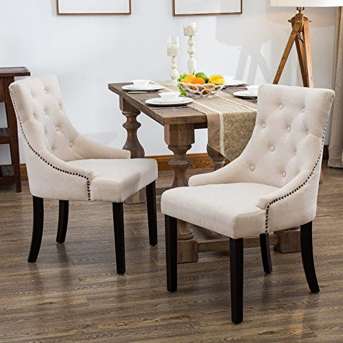 Mecor Fabric Dining Chairs Set Of 2 Leisure Padded Chair With