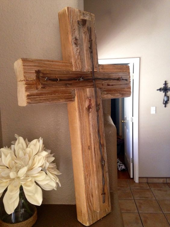 Rustic Wooden Wall Cross Decorative Cross by AroundTheBlockCrafts