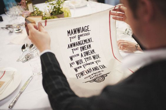 """Or go home with one of these witty tea towels, which we can all agree are significantly better than the disappointing chocolates at most weddings.   10 Reasons Why No One Can Top A """"Princess Bride"""" Wedding"""