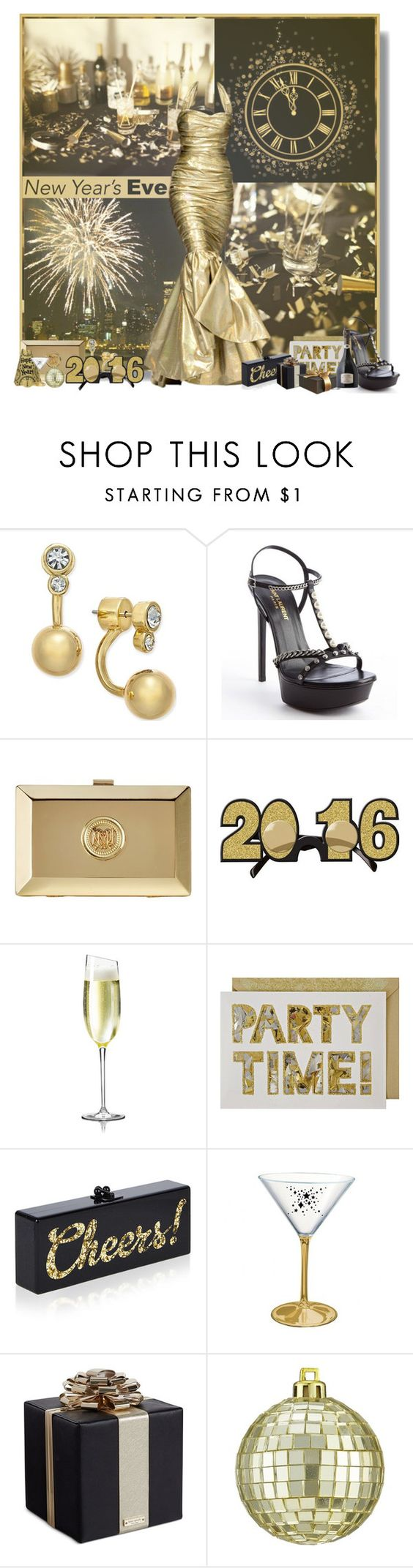"""""""New Years Eve"""" by jleigh329 ❤ liked on Polyvore featuring Moschino, Kate Spade, Yves Saint Laurent, Meri Meri, Edie Parker and CB2"""