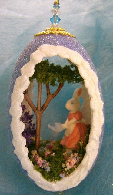Bunny Watering Garden Goose Egg Ornament