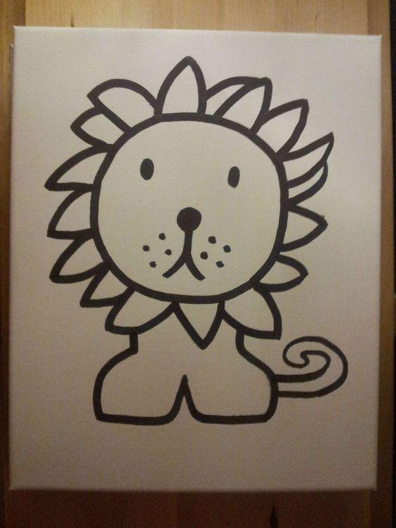 Leeuw nijntje lion miffy afbeelding op a4 geprint en overgetrokken met een watervaste stift op - Afbeelding babykamer ...