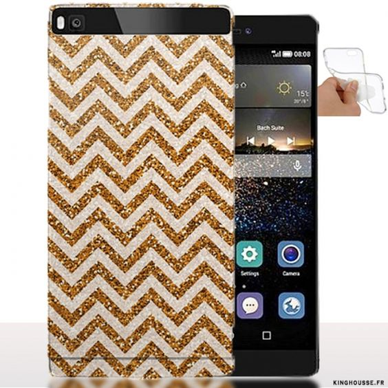 Coque Silicone Huawei P8 Zig Zag Gold - Housse Souple. #Silicone #Huawei #P8 #ZigZag #Gold