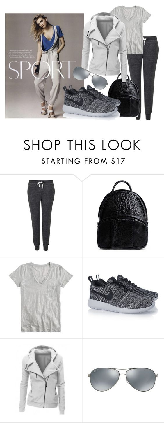 """""""The Casual Sporty"""" by kallysantos on Polyvore featuring Topshop, Alexander Wang, J.Crew, NIKE and Ray-Ban"""
