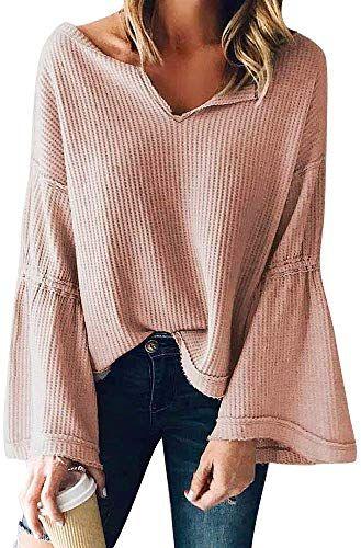 Autumn Winter Women/'s Long Sleeve Pullover Ruffle Sweater Knit Shirt Blouse Tops
