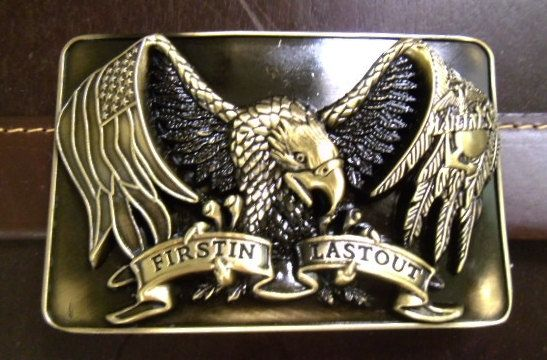 Army USA Marines Eagle large gold color belt buckle by G2Pleather, $8.99