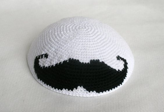 kippah white with black mustache by crochetkippah on Etsy