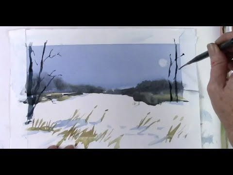 Painting Snow In Watercolor Painting Snow Watercolor Lessons