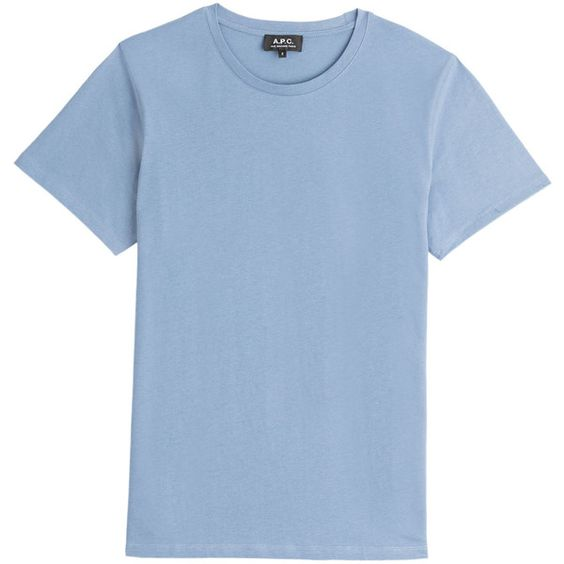 A.P.C. Liverpool Cotton T-Shirt ($77) ❤ liked on Polyvore featuring mens, men's clothing, men's shirts, men's t-shirts and blue