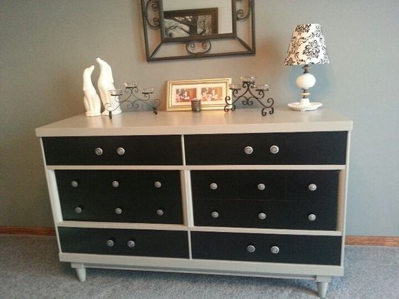Painted Oak Vintage Dresser Turned Dining Room Hutch And Changed Hardware