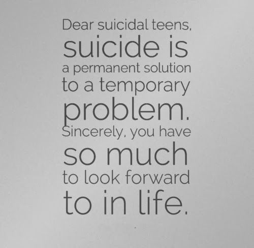 suicide is not a solution to a problem The answer is that, people who even considered suicide or commit suicide have depression depression and these sad and bad thoughts are an illusion that convinces the person that there is no way out of these emotional or physical problems, and that suicide is the only solution.