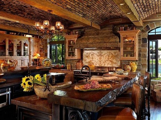 Awesome kitchen design ideas with cozy atmoshere also wooden log dining table made from thick surface as well as unique ceiling beams and classic chandeliers