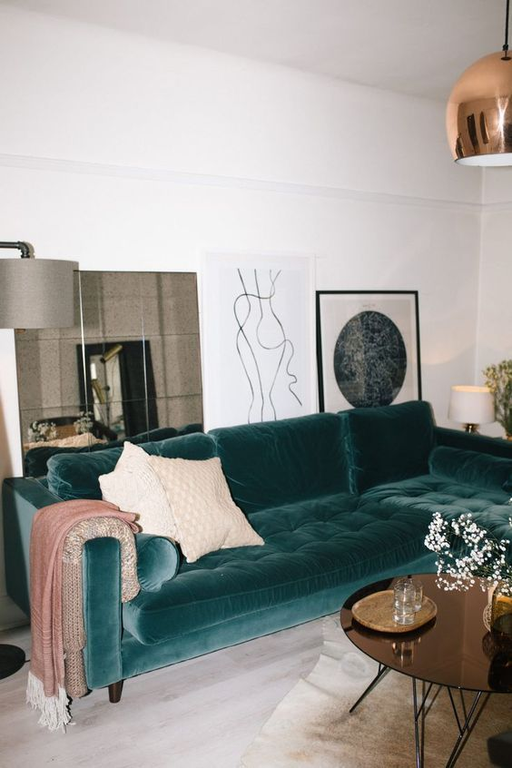 Velvet Furniture Inspirations Living Room House Interior Interior Living Room Decor