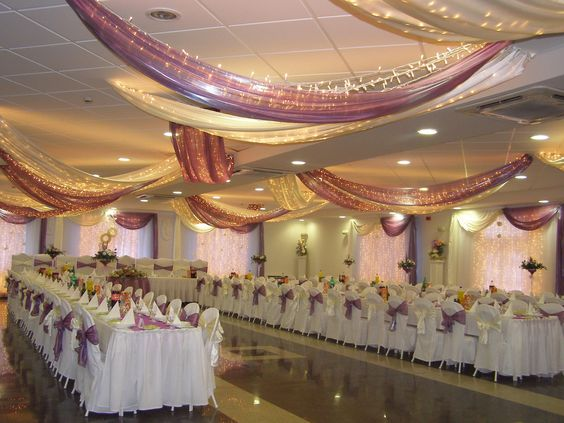 White purple wedding dining hall decoration with beautiful for Dining hall decoration