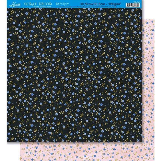 Página para Scrapbook Dupla Face Litoarte 30,5 x 30,5 cm - Modelo SD-396 Florzinha Miuda - CasaDaArte