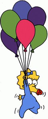Hey, where's Maggie going with those balloons? I hope she doesn't fly away.