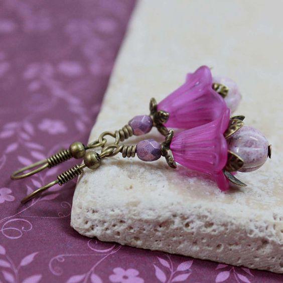 Purple Flower Bead Earrings  A459 by carolinascreations on Etsy, $5.00