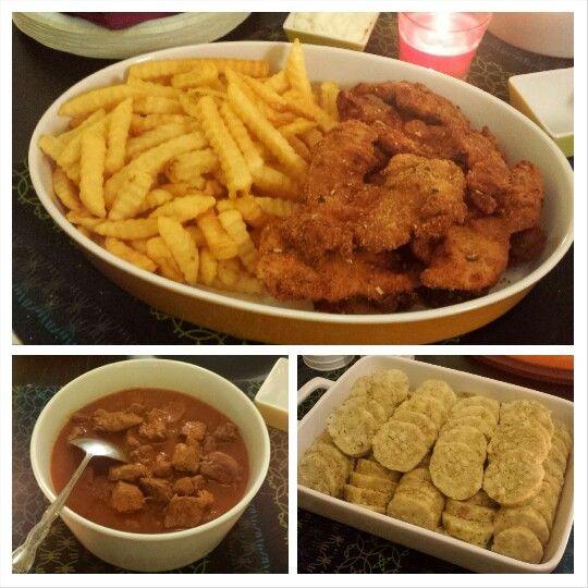 Gulasch mit Knödel + Hühnerschnitzel mit Pommes