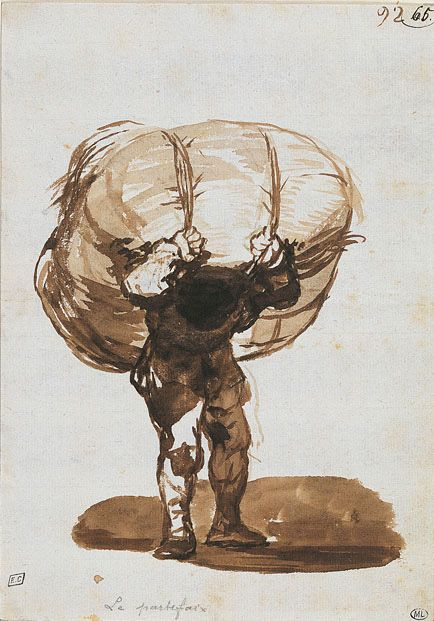 Francisco Goya y Lucientes, The Porter, (1812), brown wash, pasted on pink paper. Louvre